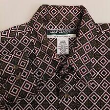 MunsingWear Golf Classics Button Up Shirt Mens Large Green Red Geometric Pattern