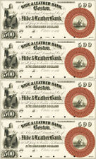 $500 Hide & Leather Bank Obsolete Currency Sheet REPRODUCTION Nice Vignettes