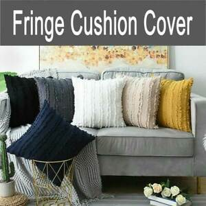 Boho Tassels Fringe Cushion Cover Decorative Striped Square Throw Pillow Cover