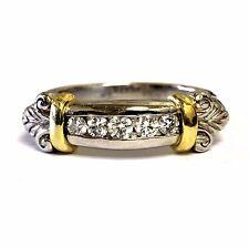 18k yellow gold Platinum womens .22ct diamond scroll wedding band ring 9.3g VS G