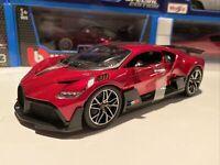 Buggatti Divo Red w/ Black Carbon Fiber 1/18 scale Bburago - New