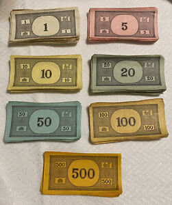 1961 Monopoly Board Game Replacement Parts Pieces Money Well Used