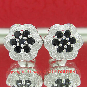 Real Genuine Diamond Sapphire Silver Cluster Halo Stud Earrings White Gold Finis