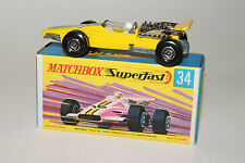 MATCHBOX SUPERFAST #34 FORMULA 1 RACING CAR, 4-SPOKE WHEELS, EXCELLENT, BOXED