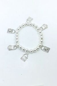 Handbag Purse Charm Stretch Bracelet with Silver Plated Beads, Priced to Sell