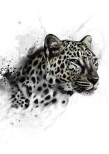 Framed Print - Black & White Snow Leopard (Picture Poster Animal Lion Tiger Art)