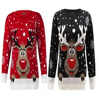 Ladies Knitted Christmas Reindeer On The Wall Novelty XMAS Jumper Sweater UK8-26