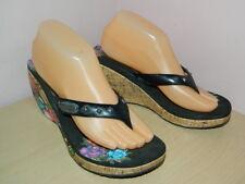 Skechers Love wedge floral black flip flop slip on sandals us 8 uk 5.5  VGC