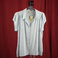 Womens Agenda Top Pale Blue Shirt With False Pearl Buttons Plus Size 20