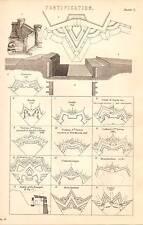 1868 PRINT ~ FORTIFICATION ~ EXAMPLES ~ DEVILLE VAUBAN MONTALEMBERT COEHORN ETC
