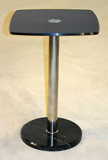 Lamp Side End Display Stand Black Glass Chrome Frame Marble Base - Pack of Two
