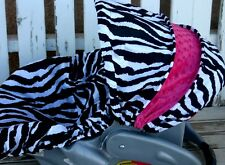 black and white zebra and hot pink minky infant car seat cover and hood cover