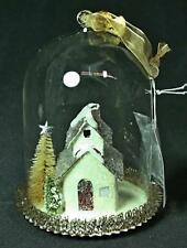 Vintage Style Lighted White Barn In Glass Cloche Dome Ornament