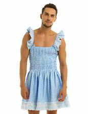 #M Sissy Men Frilly Dress Gingham Crossdress Cosplay Fancy Costume Nightwear