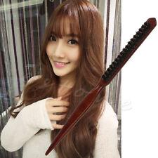 Salon Comb Hair Teasing Brush Wooden Handle Back Comb Natural Boar Bristle