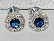 Sterling Silver (925) Blue Sapphire Ladies Halo Cluster Stud Earrings