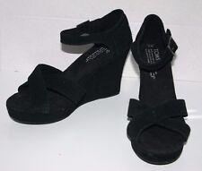 Toms Black Suede Platform shoes Open Toe criss cross Ankle Strap 7W