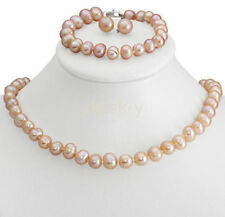 Genuine 8-9mm Pink Freshwater Cultured Pearl Necklace Bracelet & Earrings Set