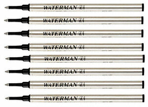 8 Waterman Rollerball Pen Refills Black Fine Pt Fits All Waterman Rollerballs *