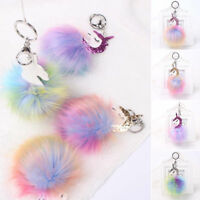 Fluffy Ball Unicorn Horse Keychain Keyring Key Chain Ring Bag Charm Pendant Gift