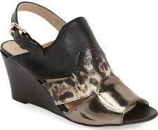 NEW AGL ATTILIO GIUSTI LEOMBRUNI Triple Leather Wedge Sandals 39.5/US 9.5 Black