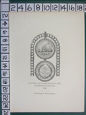 1891 SPINK MEDALS PRINT ~ GOLD MEDAL CAPTAIN WOOLRIDGE SERVICES AIX ROADS (1809)