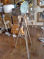 Adjustable Chrome Spotlight Wooden Tripod Floor Lamp Industrial