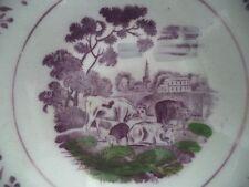 Pink Lustre Tea Bowls C1830, Cows, Farm Scene, Set of 4 Staffordshire Lustreware