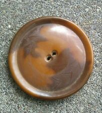 "Vintage Enormous 2"" Brown Celluloid on Metal button."
