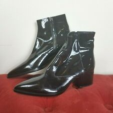 Miu Miu Booties Black Leather Boots Mismatched R39.5 L36 New Amputee Zip Chelsea