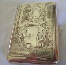 c1900 Antique FRENCH Silver Cigarette Case ART NOUVEAU Engraved EROTIC Comedy