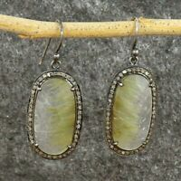Natural Yellow Rutile Pave Diamond Oxidized 925 Sterling Silver Earrings RE4