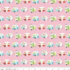 By 1/2 Yard Riley Blake Fabric ~ Glamper-licious Camper Pink RV Camping Trailer