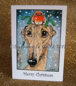 Greyhound dog art Christmas cards robin from original painting Suzanne Le Good