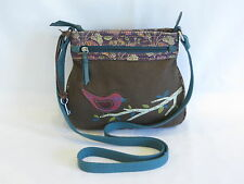 Fossil Brown/Multi Color Leather/Fabric Cross Body - GR8!