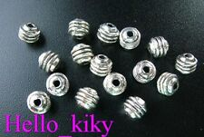 200Pcs Tibetan silver triple-lined barrel spacers A109