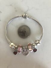 """8"""" Sterling Silver PANDORA Charm Bracelet with NINE (9) Love & Hearts Charms"""