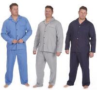 Mens Plain Plus Size Pyjama Set Woven Poplin Nightwear Long Sleeve Big Tall New