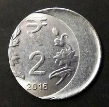 India Republic Two Rupees 2016-C off center strike error coin.