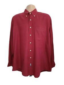 Tommy Hilfiger Mens Large Vintage 80s Big&Tall Red Twill Shirt