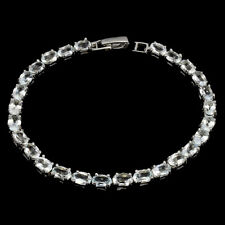 Unheated Oval Aquamarine 6x4mm 14K White Gold Plate 925 Sterling Silver Bracelet