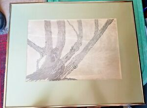 VINTAGE FRAMED WOODBLOCK PICTURE TUBAC AZ / MICHIGAN ARTIST GWEN FROSTIC - TREE