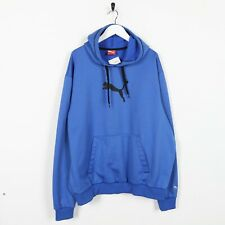 Vintage PUMABig Logo Polyester Hoodie Sweatshirt Blue XL