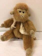 "Ty Morgan Monkey In Vest Plush 9"" Jointed Attic Treasure Tan Stuffed Animal Toy"