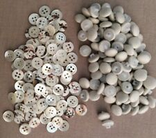 Bulk Lot Of 400 Unused Vintage Cream Buttons: MOP/Fabric Covered 11mm Diameters