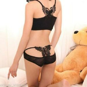 VARIOUS Ladies Sexy Open Back Butterfly Motif Semi-Transparent Flower Lace Brief