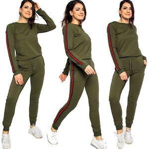 Women Side Stripe Lounge-Wear Tracksuit Ladies Jogger Suit Top Bottom 2 PC Set