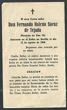 Estampa de Difuntos Marques de San Gil andachtsbild santino holy card santini