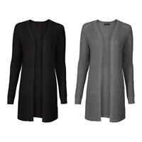 Ladies Womens Chunky Long Cable Knitted Cardigan Boyfriend Size 10 12 14 16 18