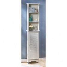 "Bathroom Storage 65"" Tall White Cabinet Laundry Organizer Shelf"